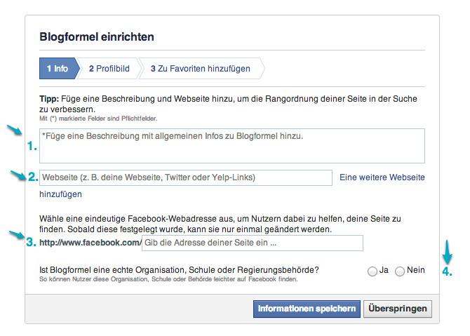 facebook seite informationen