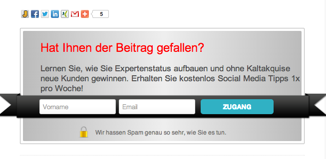 Email-Optin für Blog