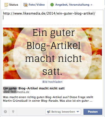 Ein quadratisches Bild sieht im Blog gut aus. Auf Facebook leider nicht.
