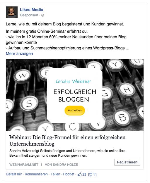 webinar facebook ad
