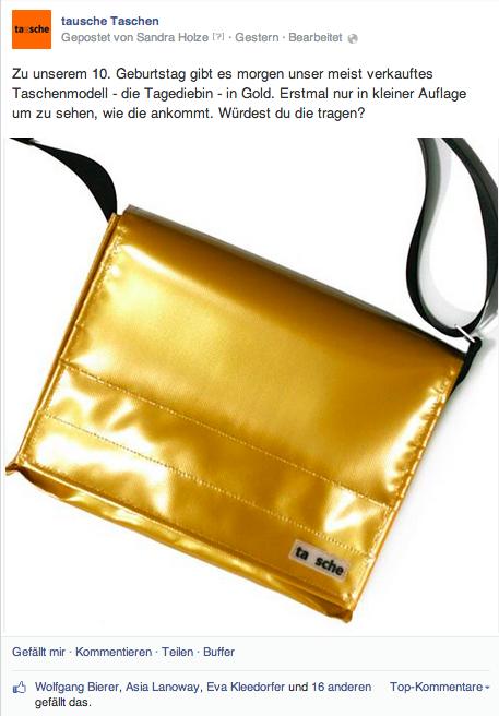 Für meinen Kunden tausche Taschen stellen wir regelmäßig Fragen an die Fans, die das Sortiment betreffen.