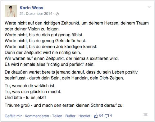 Karin Wess teilt neben Fotos, Links und Videos auch reine Text-Beiträge, die besonders viel Aufmerksamkeit erzielen.