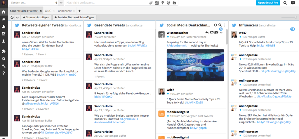 Im Dashboard siehst du alle Beiträge und Interaktionen auf einen Blick