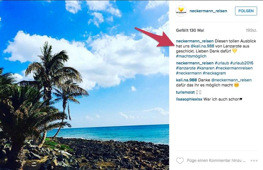 Neckermann Reisen teilen regelmäßig Fotos ihrer Follower.