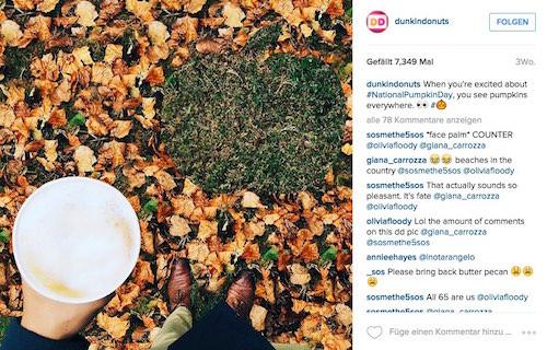Dunkin Donuts spricht die Sprache seiner Fans und teilt oft Bilder ohne Donuts