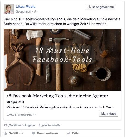 Facebook Content Anzeige