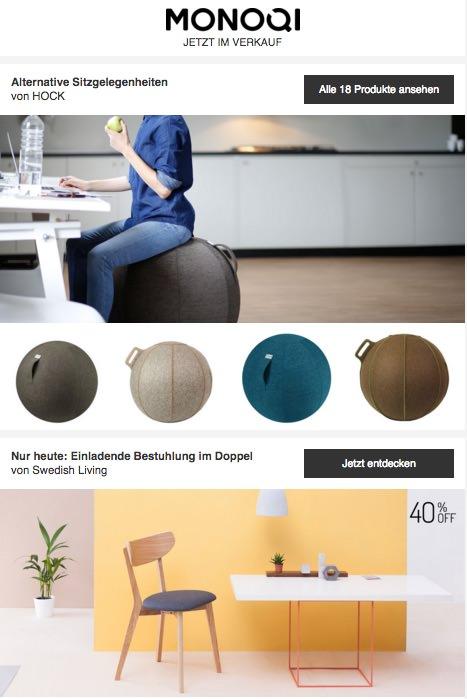 Der Online-Design-Shop monoqi zeigt alle aktuellen Produkte in einer langen Email