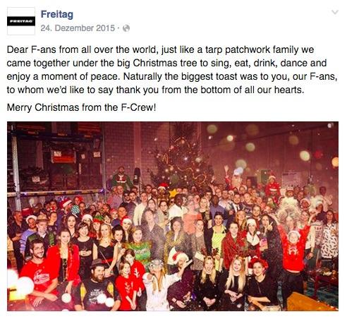 Taschenhersteller freitag bedankt sich bei seinen Fans und teilt ein Foto von der Weihnachstsfeier.