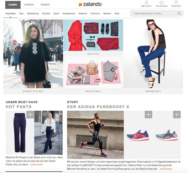 Zalandos Blog ist gestaltet wie ein Modemagazin: viel Bild, wenig Text und Links in den Shop.