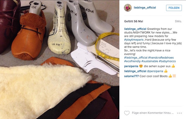Der Schuhhersteller Lieblinge informiert auf Instagram darüber, dass gerade viel los ist und bis in die Nacht gearbeitet wird.