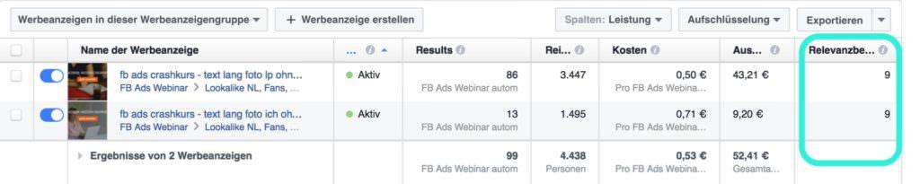 facebook anzeigen relevanz