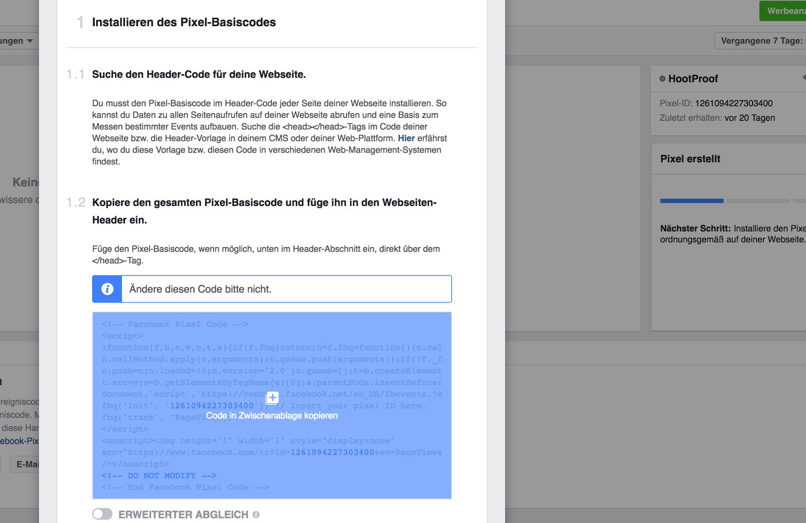 Finde Im Facebook Anzeigen Manager Dein Pixel Und Klicke Auf Das Auge Symbol Klick Sich Offnenden Fenster In Den Code Um Diesen Die Zwischenablage